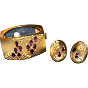 Vintage MASSIVE Stylish Elite MONET DIRECTIVES Wisteria Gold Tone Clamper Bracelet and Matchin