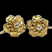 SOLD Vintage 14KT Mine Cut Diamond Flower Blossom Earrings