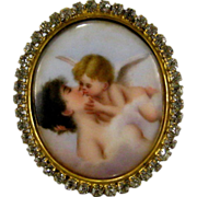 Miniature Painting Paste Jeweled Picture Frame c1900 Antique 'Forbidden Kiss' aft Willem ...