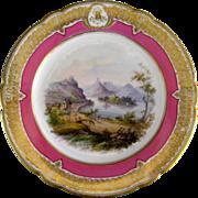 Antique Paris Porcelain Plate Topographical Scene Pink Gold