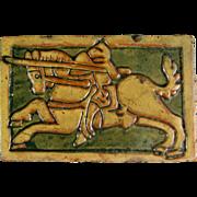 SALE Antique Mercer Moravian Tile c.1920 Arts & Crafts Knight on Horse