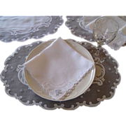 SOLD 16pcs Madeira Embroidered Oval Placemat & Napkin Set Vintgae Linen Organdy