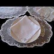 16pcs Madeira Embroidered Oval Placemat & Napkin Set Vintgae Linen Organdy