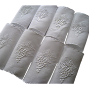 SOLD Vintage Marghab Embroidered Cocktail Napkins 8pcs Grape & Leaf Madeira