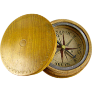 SOLD Antique Travel Compass in Wood Case 19thC