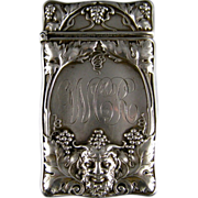 SOLD Antique Sterling Silver Match Safe c.1900 Gorham Bacchus Head Grape Vines