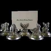 13 Vintage Sterling Silver Place Card Holders c.1930 Siam Figural Menu Holders