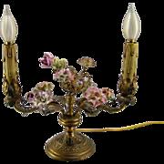 SALE French Porcelain Flower Lamp c.1920 Vintage Two Arm Candelabra