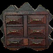 American Tramp Art Multi Drawer Chest c.1900 Antique Folk Art Jewelry Box