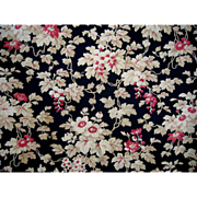 Antique French Floral Fabric c.1880 Rose Pink & Tan on Black