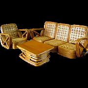 Paul Frankl Salesman Sample Rattan Furniture c.1950 Vintage Miniature Florida Room Chair Sofa