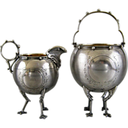 SALE Antique Gorham Coin Silver Sugar Basket & Creamer c.1860 Chicken Leg