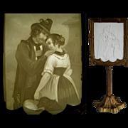 KPM Lithopane Candle Screen c.1860 Antique Cast Iron Porcelain Lithophane