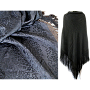 SALE Victorian Black Silk Damask Shawl c1860 Antique Mourning
