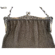 Sterling Silver Mesh Purse c1909 Antique Daisies