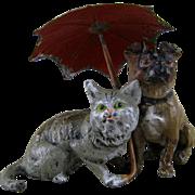 SALE PENDING Pug Dog & Cat under Umbrella c1900 Vintage Heyde Metal Figurine