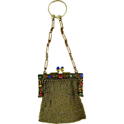 Jeweled Mesh Chatelaine Coin Purse c1910 Finger Ring Antique Doll Purse