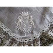 French Embroidery Lace Handkerchief 19thC Coat of Arms Antique Crown
