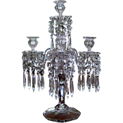 Victorian 5 Light Glass Candelabra Prisms c1900 Antique Girandole Five Arm Crystal Luster ...