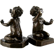 Brenda Putnam Bronze Bookends c.1913 Cute Baby Girls Antique Sculpture