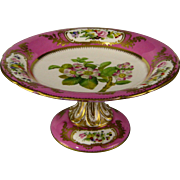 SOLD Sevres Style Porcelain Compote c.1860 Antique Hand Painted Floral Comport