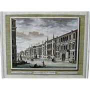 18thC Perspective View of Venice c1725 Antique Vue d' Optique Print Engraving