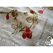 Society Silk Strawberry Valance Lace Edge c1900 Antique Needlework