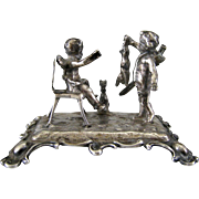 SALE Antique Miniature 800 Silver Cherubs with Dog & Rabbit c1900 Figurine