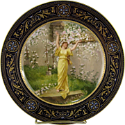 """Royal Vienna Cabinet Plate 9"""" Antique Painted Woman in Garden"""