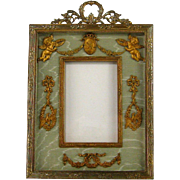 SALE Gilt Bronze French Empire Style Picture Frame c.1870 Antique Ormolu Cherubs