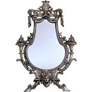 Silvered Bronze Vanity Table Mirror c1880 Antique French Victorian Style