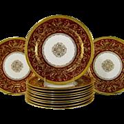 12 Royal Doulton Burslem Dinner Plates c1895 Raised Gold Roses Deep Red Plate