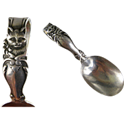 SOLD Sterling Silver Baby Spoon c1895 Antique Reed & Barton Curved Handle Cat Kitten Bow