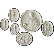 SOLD Grand Tour Plaster Intaglio Collection Antique Women Cameo Medallions