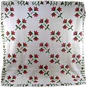Red & Green Carolina Lily Pattern Quilt c.1860 Handmade Antique