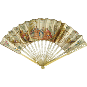 18th Century Hand Painted Fan c.1780 Rebecca at the Well Antique Accessory