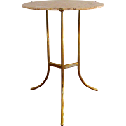 Cedric Hartman Bronze & Marble Gueridon Table 1970s Vintage Occasional Side Table