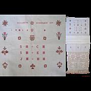 Pennsylvania Show Towel 1837 Antique Sampler Embroidery PA Door Panel