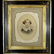 Victorian Aesthetic Picture Frame Original Mat c1880 Black Lacquer Gold Leaf