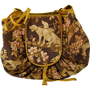 Hunting Dog Sewing Bag c.1890 Antique Victorian Cretonne Fabric