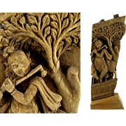 Indian Temple Carving 18th/19thC Antique Asian Carved Architectual Element Krishna & Cow