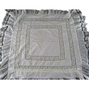 Lawn & French Valenciennes Lace Pillow Sham c1890 Appenzell type Embroidery Monogram Antique .