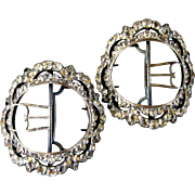 Georgian Paste Shoe Buckles c1770 Antique Rhinestone 18thC Jeweled Decoration