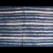 West African Indigo Stripe Handwoven Cloth Vintage Mali Textile A