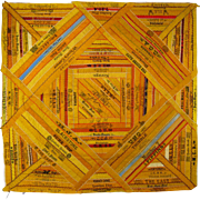 SOLD Silk Cigar Ribbon Quilt Piece c.1890 Antique Victorian Advertising Square