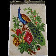 Beaded Purse Peacock & Roses c.1930 Vintage Art Deco Handbag