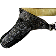 S D Myres Tooled Leather Gun Rig Vintage Belt Holster Ammo Western Cowboy