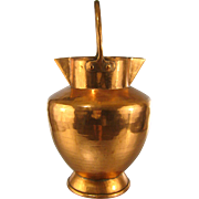French Copper Milk Jug 19thC Large Antique Hammered Pitcher