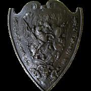Cast Iron Medieval Style Shield c1900 Antique Renaissance Armor Plaque