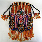Art Deco Beaded Purse c.1925 Vintage Graphic Great Color